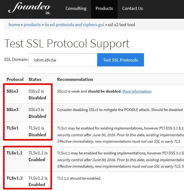 SSLv2, SSLv3, TLSv1 已關閉;TLSv1.1, TLSv1.2 啟用